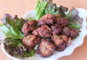 Fried meatball of saury