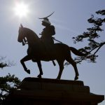 Statue of Date Masamune in the Sendai castle park