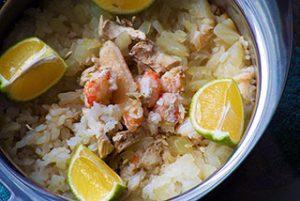 crab & chicken pilaf